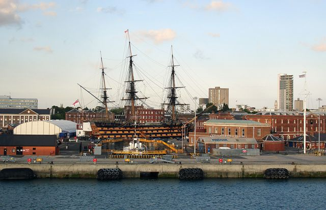 HMS Victory and the surrounding dockyard