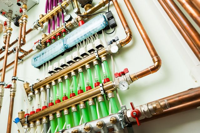 Commercial pipework withseveral valves & pressure gauges